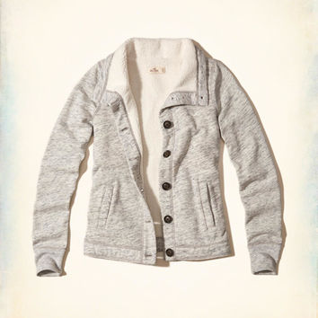 Sherpa Lined Button-Front Sweatshirt