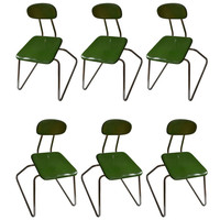 Mid-century Modern Stainless Steel Chairs with fiberglass seats