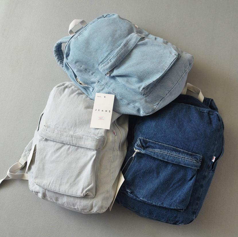 Image of Retro simple AA denim backpack bag men and women backpack large capacity bag casual solid Color