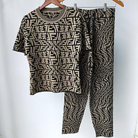 FENDI summer new irregular FF letter jacquard knitted cardigan top and shorts 2-piece set