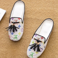 LV flat-bottomed slippers, loafers, cool slippers with flat heels and fringed shoes, ladies' slippers