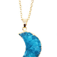 Blue Crescent Moon Druzy Necklace