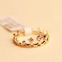 Cute Rhinestone Crown Ring from http://www.looback.com/