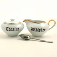 Altered Cocaine Whiskey Vintage  Porcelain Redesigned Sugar Bowl Covered Creamer Alcohol Drug Whimsical Present Gift White Brown Fun Funny