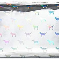 Victoria's Secret PINK Iridescent Dog Logo Makeup Travel Case