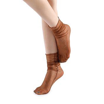 Diamond Sheer Crew Sock | Camel
