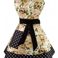 """""""Skulls and Roses"""" Two Tier Apron by Hemet (Cream)"""