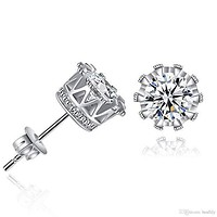 Pave Halo Round Princess Stud Earring Embellished