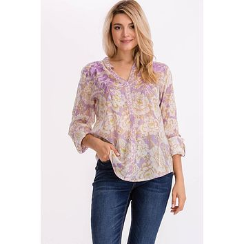 Floral Printed Tunic with Lavender Embroidery