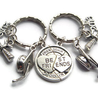 Best Friends Keyrings ~ Graduation Keychain, Long Distance Friendship, Quirky Goodbye Gift, College Present, Grad Students, Class of 2016