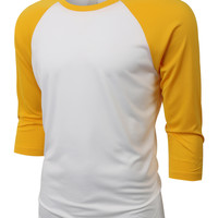 LE3NO PREMIUM Mens Loose Fit 3/4 Sleeve Crew Neck Jersey Baseball Shirt (CLEARANCE)