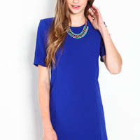 STRUCTURED CREPE SHIFT DRESS