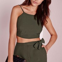 Missguided - Crepe Crop Top Khaki