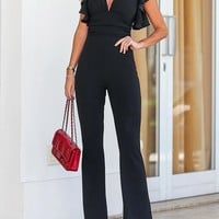 2018 New Arrival Fashion Women Plus Size Elegant Jumpsuit Solid Plunge Flutter Sleeve Scrunch Flared Jumpsuit