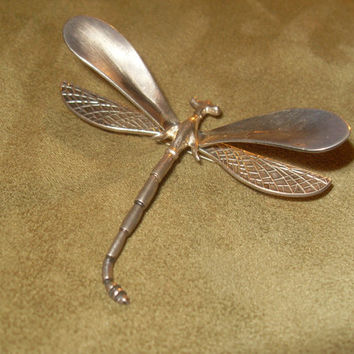 Dragonfly Sterling Silver Brooch Pin Solid