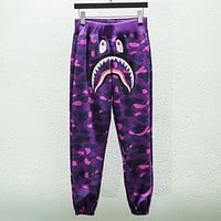 Bape Aape Fashion new shark print camouflage couple leisure loose pants trousers Purple