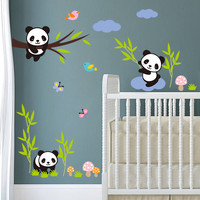 Naughty Pandas Birds Butterfly tree Wall Stickers For Kids room baby gift Nursery home decor animals decals mural art cartoon