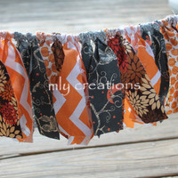 Fall Banner, Birthday Banner, Fall Colors Banner, High Chair Banner, Orange Banner, Shabby Chic Banner, fall fabric banner, fall photo prop.