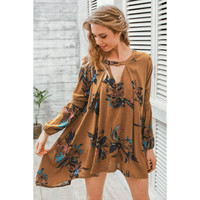 Vintage pleated boho dress