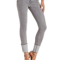 Lt Gray Cuffed Grey Skinny Jeans by Charlotte Russe