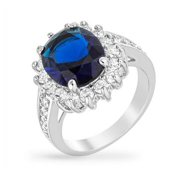 Kate Royal Sapphire Blue Cambridge Engagement Ring | 7 Carat | Cubic Zirconia | Silver