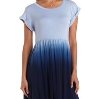 Navy Dip-Dye Babydoll T-Shirt Dress by Charlotte Russe