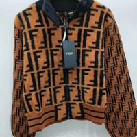 FENDI FF Zip-Up Jacket Coat