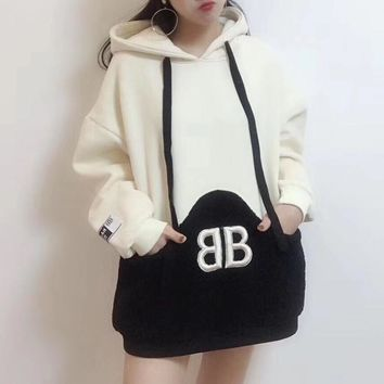 """Balenciaga"" Women Loose Casual Multicolor Lambswool Sweater Long Sleeve Hoodie Tops"