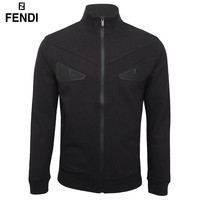 Fendi New fashion eye couple long sleeve coat cardigan Black