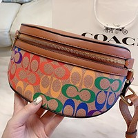 COACH Fashion New Multicolor Pattern Print Leather Shoulder Bag Crossbody Bag Brown