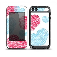 The Red and Blue Lopsided Loop-Hearts Skin for the iPod Touch 5th Generation frē LifeProof Case