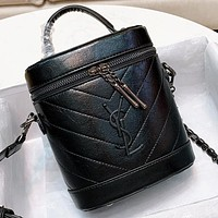 YSL New fashion leather shoulder bag handbag crossbody bag bucket bag Black