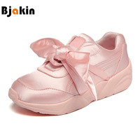 Bjakin Women's Bow Sneakers Popular Satin Bowknot Running Shoes Cushioning Support Sports Shoes Bowknot Sneakers Women Pink