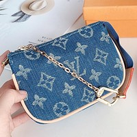 Hipgirls LV New fashion monogram print canvas chain shoulder bag handbag two piece suit Blue