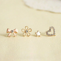 Candy pink bow rhinestone hearts stars flowers 4 sets of earrings