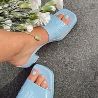 GG slippers summer new open-toed thick heel mid-heel slippers increase one-word drag and wear sandals Shoes Blue