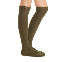 Button-Trim Multi-Knit Over-The-Knee Socks