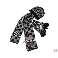 Louis Vuitton LV Autumn Winter Popular Retro Plaid Pattern Warm Knit Hat Cap Scarf Gloves Set Three Piece