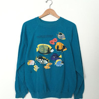 80s, 90s MONTEREY BAY AQUARIUM Living Treasures of the Pacific, Blue Pullover Sweatshirt, Size M