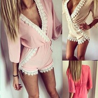 KAYWIDE Summer Sexy Deep V-Neck Playsuit Fashion Short Sleeve Lace Patchwork Jumpsuit Pleated Waist Short Pants Female Romper