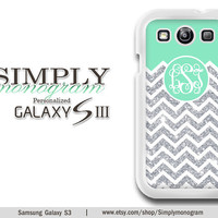 Samsung Galaxy S3 Case  Samsung Galaxy SIII Case - Plastic and Rubber - Glitter (Not Actual Glitter) and mint chevron monogram