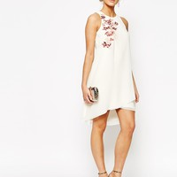 Little Mistress Shift Dress in Chiffon with Embroidery at asos.com