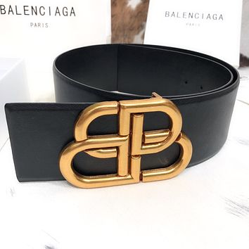 Balenciaga retro women's simple double B letter buckle belt
