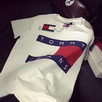 PEAPV9O Tommy Jeans Popular Women Men Casual Letter Print Short Sleeve T-Shirt Pullover Top White I