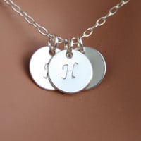 Initial necklace THREE discs Sterling Silver -Valentine gift, engraved necklace, birthday mothers day gift, for mom daughter,