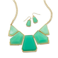 Green Acrylic Gold Tone Fashion Necklace and Earring Set