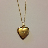 """14K Diamond Heart Locket Necklace 18.5"""" Pendant Yellow Gold New NIBboxed Vintage Jewelry Mother's Birthday Graduation Anniversary Gift Love"""