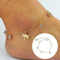 Women Gold Chain Ankle Anklet Bracelet Barefoot Sandal Beach Foot Jewelry HU