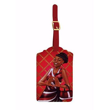 Red and White Luggage Tag Set
