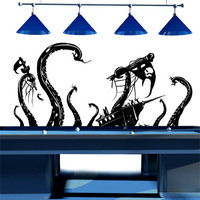 Vinyl Wall Decal Sticker Pirate Ships attacked by Kracken #GFoster166